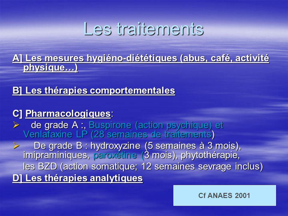 Les traitements A] Les mesures hygiéno-diététiques (abus, café, activité physique…) B] Les thérapies comportementales.